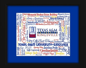 Texas A&M University - Kingsville (TAMUK) 16x20 Art Piece - Beautifully matted and framed behind glass