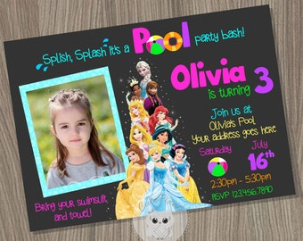 Disney Princess Invitation, Pool Princess Birthday Invitation, Disney Princess Party, Pool Party Invitation, Summer Party, Princess Birthday