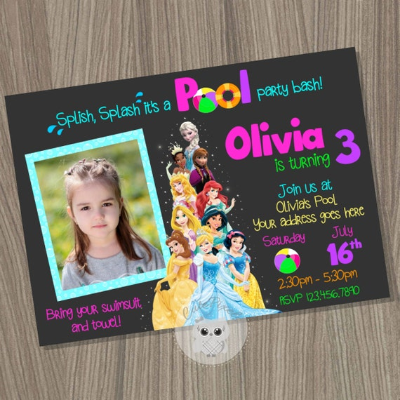 Disney Princess Invitation Pool Princess Birthday Invitation