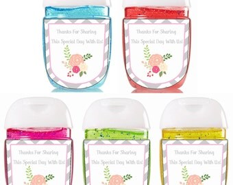 New Hand Sanitizer label / Pocketbac Bath and Body Works sanitizer / Baby Shower Favors / Bath and Body Works Sanitizer / Rose Labels