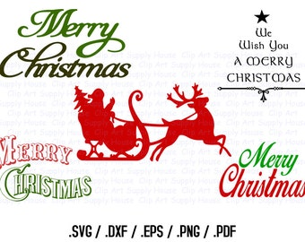 Merry Christmas Clipart, Christmas SVG File, Merry Christmas SVG File for Vinyl Cutter, Screen Printing, Silhouette, Die Cut Machine - CA320