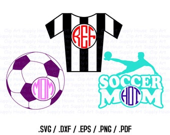 Soccer Mom, Soccer Monogram, Soccer Design Files, Use With Silhouette Software, DXF Files, SVG Font, EPS File, Initials Silhouette - CA235