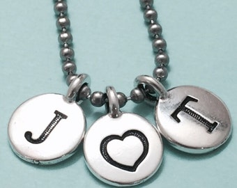 Couples necklace, couples charm, love necklace, personalized necklace, initial necklace, initial charm, monogram