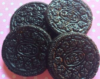 Oreo Cookie Cabochons / Realistic Food Cabochons / Food Flat Backs / Kawaii Food Cabochons / Full Size Cookie / Handmade Cabochons DIY Deco