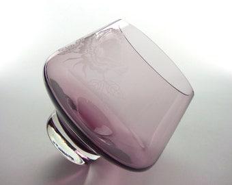 Scottish vintage purple Caithness etched rose glass vase - British heather coloured (amethyst) glass vase - 1980s vase signed on base