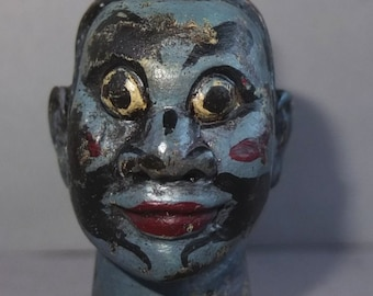 Rare Old Wooden Theatre Finger Playing Male Puppet Head from Java, Traditional Indonesian Doll, FREE SHIPPING