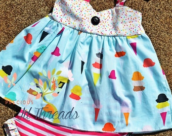 Toddler Girls, Girls, Summer Custom Boutique Ice Cream Cone & sprinkles Shoulder Tie tunic top w/ruffle Shorts set size 2t, 3t, 4t, 5t, 6, 8