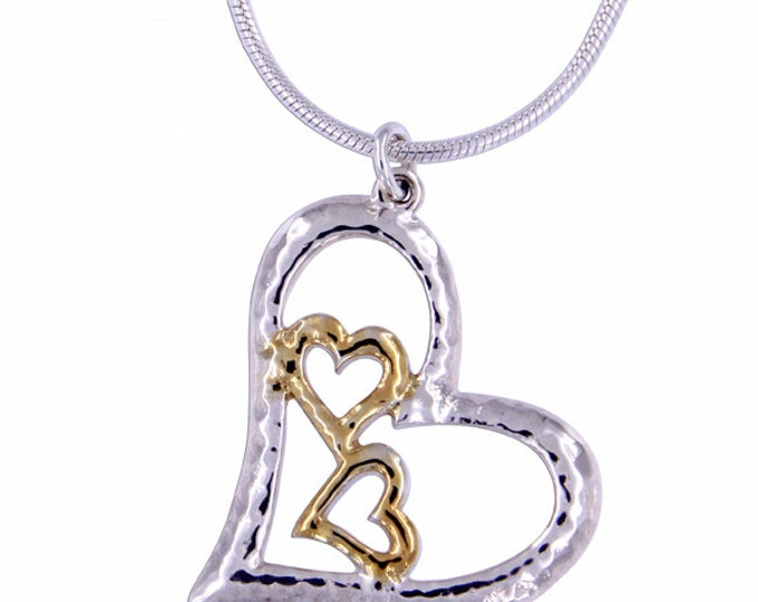 Silver three hearts pendant with gold plating Sterling Silver openwork pendant - Hand Made in UK