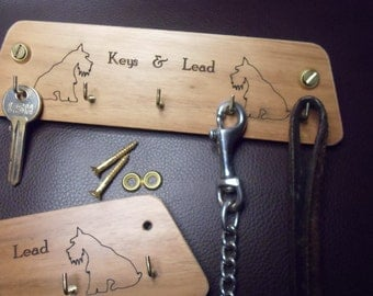 Gifts under a tenner 1 X solid wood wall mounted key rack ( keys & lead) 2 schnauzers outlines FREE POSTAGE