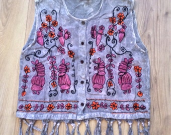 Vintage 80s embroidered fringed sleeveless hippy blouse, S/M