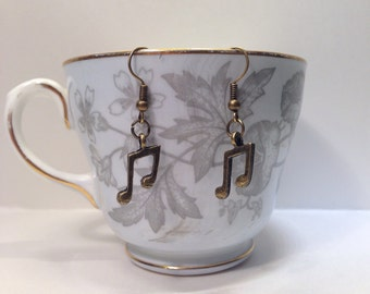 Musical Note Earrings - With Double Quaver Note Charms