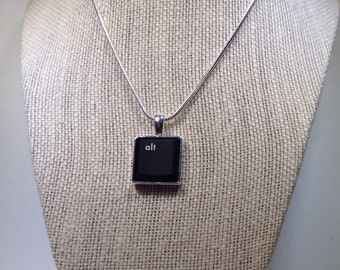 Geek Chic Custom Computer Keyboard Pendant - Antique Silver Finish - With Your Choice of Computer Key