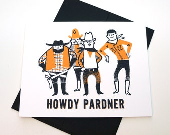 Howdy Pardner Western Cowboy Greeting Card: Free Shipping