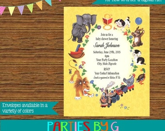 Golden Book Baby Shower or Birthday Party Invitations Invites Personalized Custom