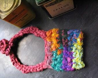 Boho choker, bib necklace, multicolour necklace, crochet jewellery, yarn jewellery, statement necklace