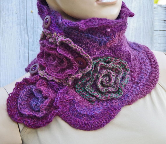 Crochet Scarf Capelet Neck Warmer Freeform By Degra2