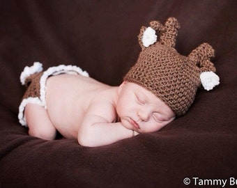 Crochet Deer Outfit. Crochet baby clothing. Crochet boy. Crochet girl. Deer.woodland.infant crochet. Newborn outfit. Newborn deer outfit.