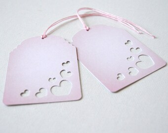 Blooming Hearts Tags: laser cut, floating hearts, love, pink clouds, blossoming romance, pink and white, valentine - LRD008TG