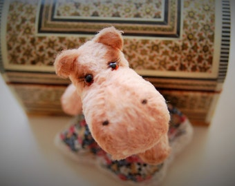 "Small hippo teddy , Pink hippo, Flu, 4.7"", 10 cm, Artistbears, Pluh Hippo, Stuffed hippo, stuffed animals, handmade teddy bear, little Hippo"