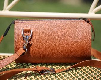 Leather crossbody bag, Leather small crossbody purse, Leather zipper purse