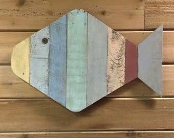 "Painted Fish Wall Hanging made with pallet wood - 24"" - great for a beach house or ocean decor"