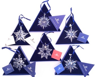 10 Piece Swarovski Crystal Limited Edition Christmas Stars & Snowflakes Ornament Collection: MINT Condition