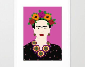 Frida Kahlo art print-Floral Frida Kahlo colourful portrait-Mexican Poster-Frida wall art-Cool Fuchsia Original Print-Pink Large Print