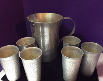 Hammered Aluminum Pitcher and 6 Glass Set from Italy