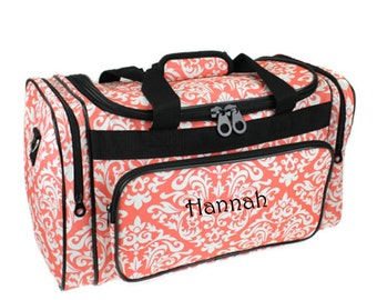 Monogram Diamond Damask Coral Duffle Bag