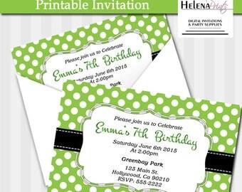 Green Polka dots Birthday Invitation, Polka Dot invitation, Green, Birthday invitation, Dots Invitation, Birthday invite, party