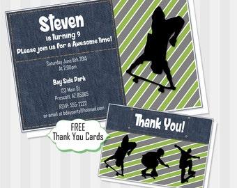 Skateboard Birthday Invitation, Extreme Sports, Party, Skater, Printable, Invitation, Teen Party, Skateboard, Birthday, Skater Invitation