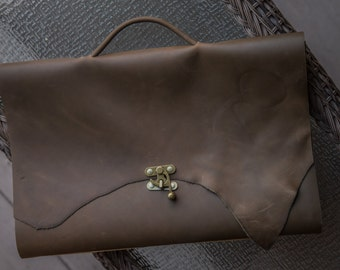 """Jumbo Leather Sketchbook with Brass Clasp   18"""" x 12""""   Handcrafted Sketchbook   Handmade in the USA   Suitcase Sketchbook"""