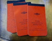 Notepads, Dow Notepads, Mini Notepad, Factory Paper Pad, Paper Pad, Orange Dow Label, Dow Industry, Graph Paper, 1960s, Office Supply