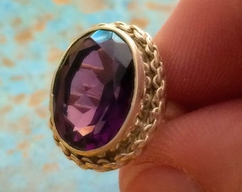 SALE 6CT Natural Amethyst 925 Solid Genuine Sterling Silver Ring Size 7 - Silver AMETHYST Ring - Gemstone Ring- ring size 7 - boho chic ring