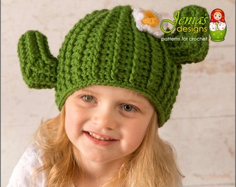 CROCHET PATTERN - Crochet Cactus Hat Pattern, Saguaro Cactus Hat Pattern for Baby, Toddler, Child, Teen, Adult - Photo Prop or Costume