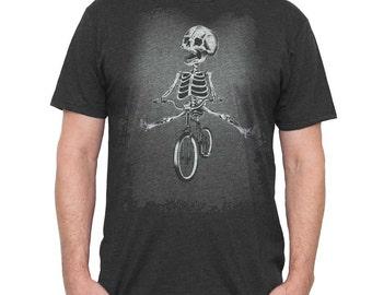 Bike Shirt - Men's Bicycle Shirt - Skeleton Riding a Bike Hand Screen Printed on a Mens T Shirt