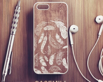 Wooden Feather iPhone 6 Case Feather iPhone 6s Case iPhone 6 Plus Case iPhone 6s Plus Case iPhone 5s Case iPhone 5 Case iPhone 5c Case