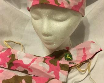 Pink Camo John Deere yoga workout headband