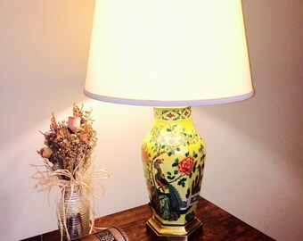 porcelain lighting. vintage table lamp midcentury paul hanson hollywood regency chinese porcelain lighting b