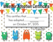 Custom Adopt A Monster Certificate Printable Digitial Download 1st Birthday, 2nd Birthday, Monster Birthday Invitation, Monster Party Supply