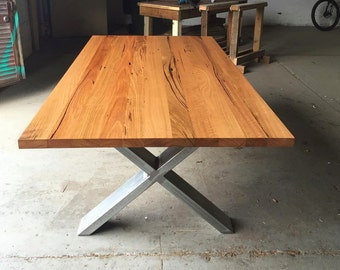 Recycled timber dining table with steel X-legs