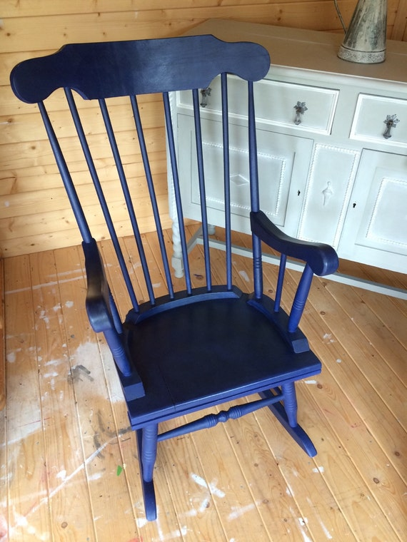sold large rocking chair vintage pine hand painted in annie sloan