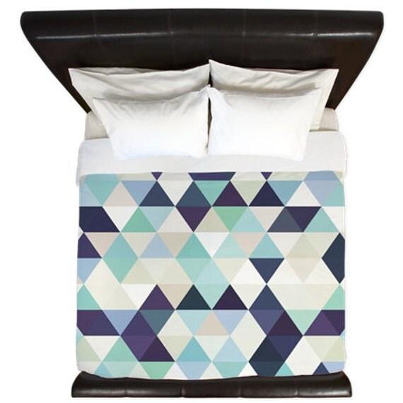 Blue green purple triangle geometric duvet by kalilainedesigns for Housse de couette bleu et gris