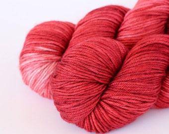 Hand Dyed DK Yarn - 50/50 Silk Superfine Merino 8Ply Yarn - Marsala Red Brick