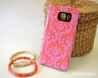 1179///Damask Pink Orange iPhone 6 Case iPhone 6 Plus Case iPhone 5 Case iPhone 5s Case Samsung Galaxy S5  S6 Custom Monogram Phone Case