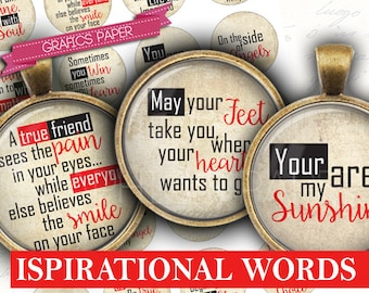 """Inspirational Words and Sayings, Digital Collage Sheet 1 inch Circles, 1.5"""", 1.25"""", 30mm Circle Images, Round for pendant - td405"""