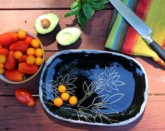Black Handmade Plate, Sgraffito Pottery Serving Dish, Wedding Gift, Housewarming Gift, Ceramic Appetizer Plate,Cinco de Mayo Serving Platter