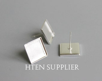 100pcs Square 12mm Silver earrings Settings base,Silver 12MM Brass Earring Square Posts With Pad