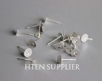 100pcs 6MM 8MM 10MM Earring Stud, Earring Blank, Earring Stud Blank,earrings Settings base