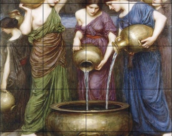 Danaides by William Waterhouse- Ceramic Tile Mural  17 x 21.25